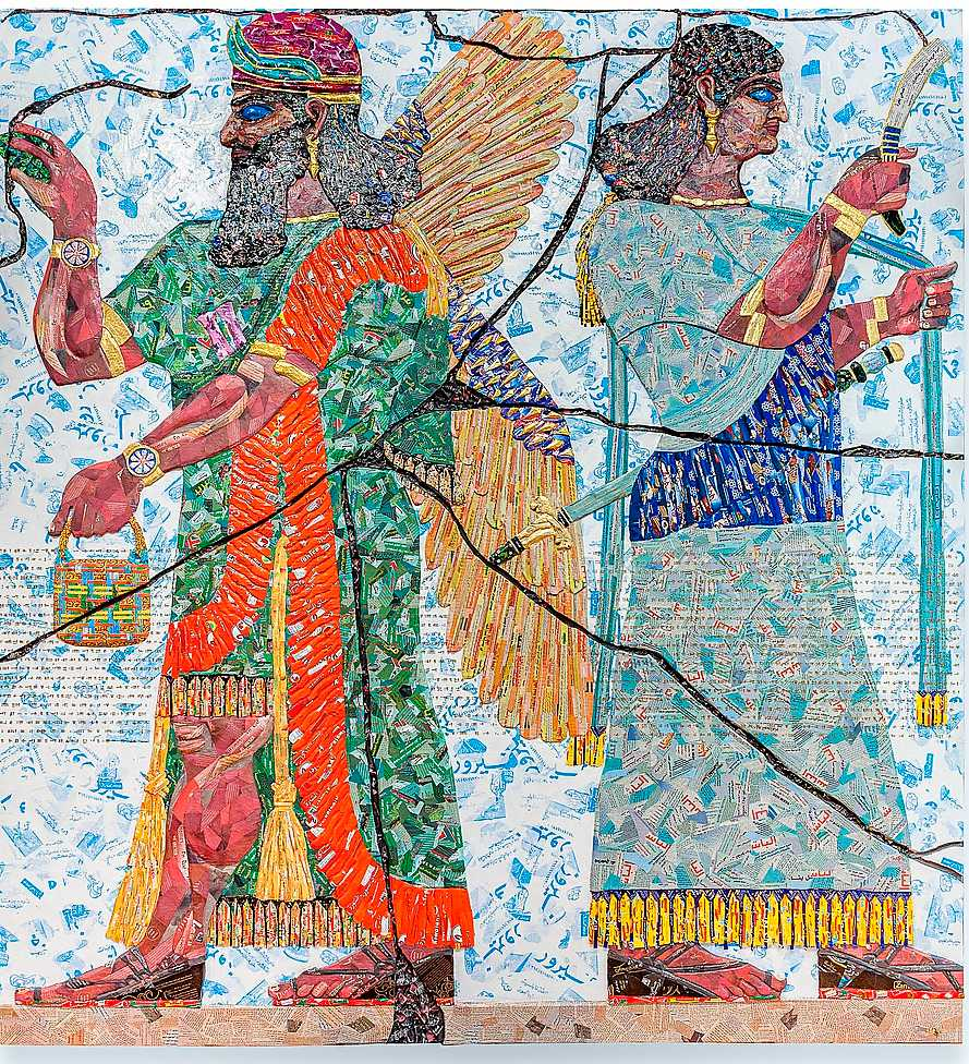"Michael Rakowitz, ""Room G, Northwest Palace of Nimrud, Room G-24), 2019. Godispapper, tidningspapper, lim, hårdpapp etc. © Elie Khouri Art Foundation"