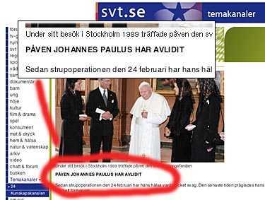 SVT:s hemsida i går kväll.