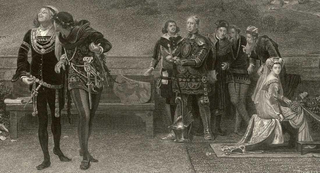 Edvard II och Piers Gaveston promenarar samtidigt som de betraktas av drottningen och rikets rådsherrar. Gravyr  av James Stephensons från sent 1800-tal.