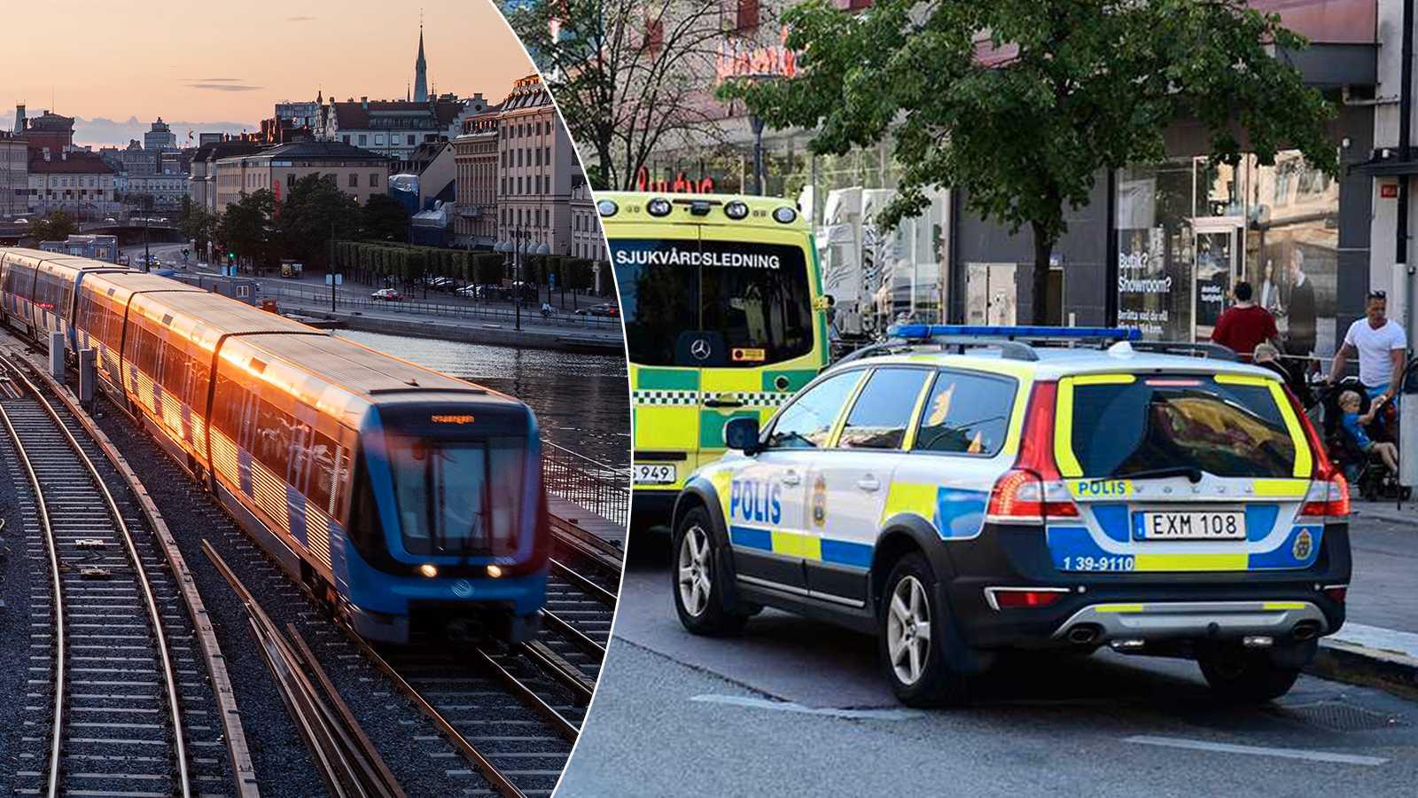Larm om pistolman i t-banan i Stockholm – sågs vid Skanstull på Södermalm