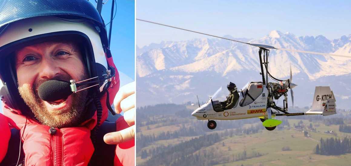 James Ketchell spenderade sex månader med att resa runt jorden i sin gyrokopter.