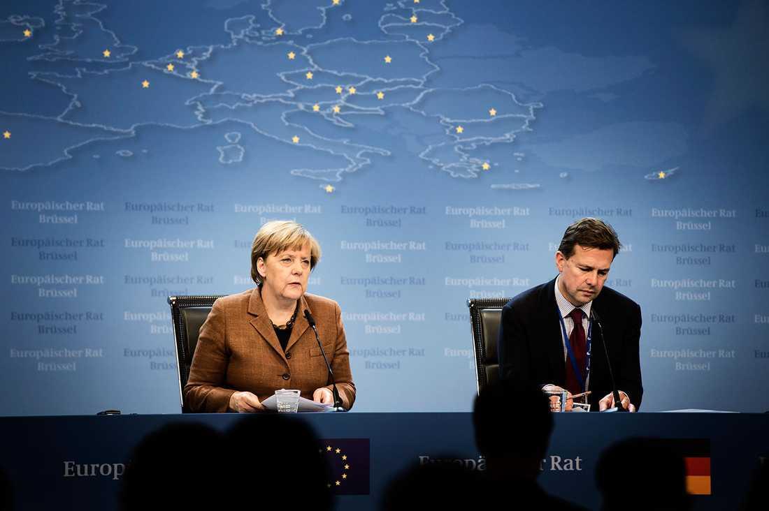 Angela Merkel på pressträffen efter att mötet avslutats.