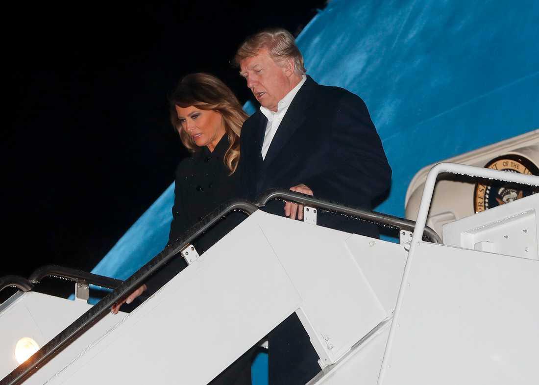 USA:s första dam Melania Trump tillsammans med maken och presidenten Donald Trump.