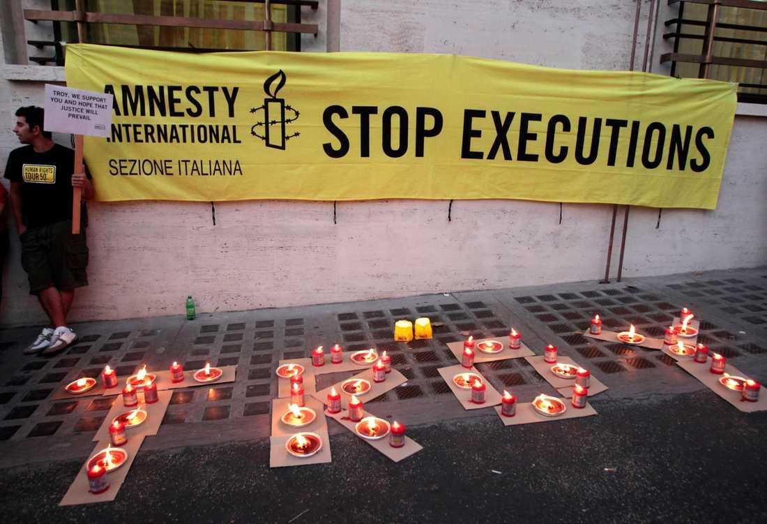 Också internationellt har Troy Davis fått stort stöd. Här protester i Rom, Italien …