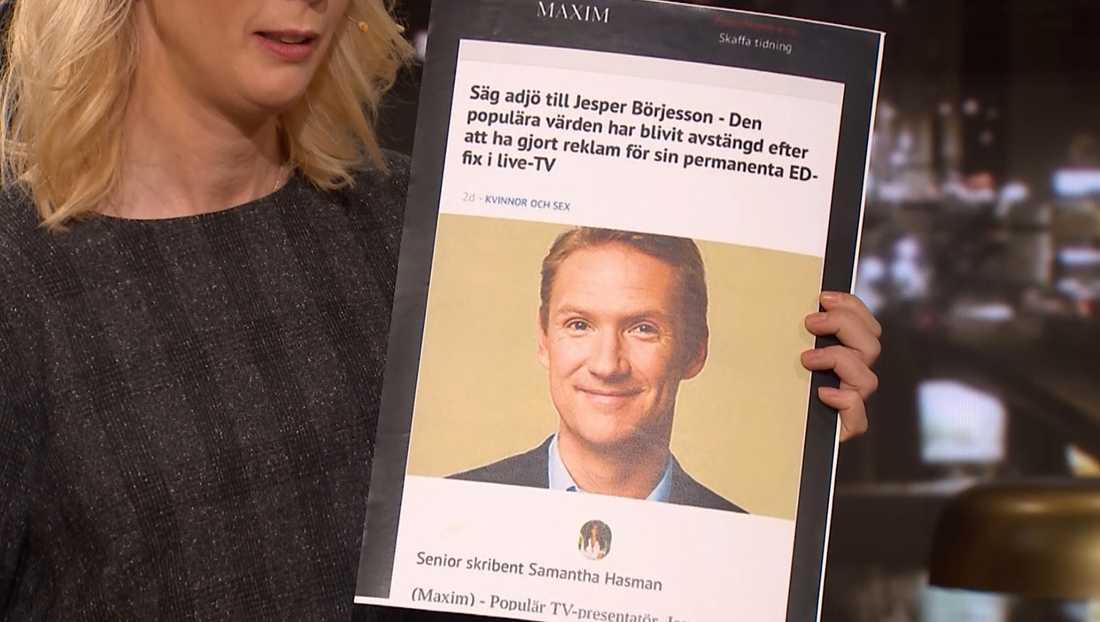 En av fejkannonserna med Jesper Börjesson.