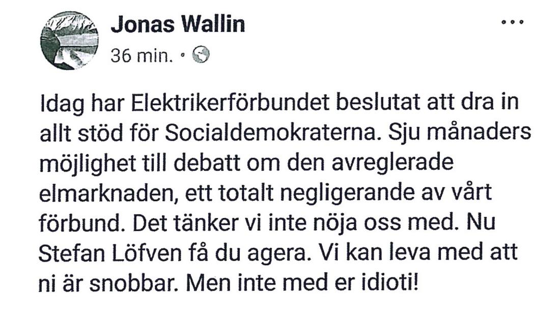Wallins inlägg på Facebook, som han sedan tvingades radera efter hård intern kritik.
