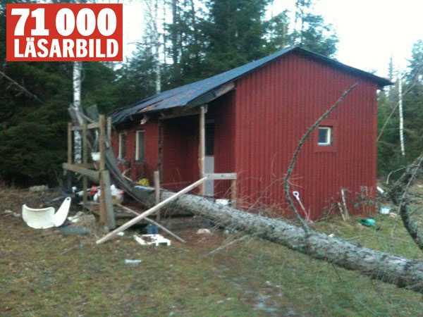 Träd över hus i Grödinge.