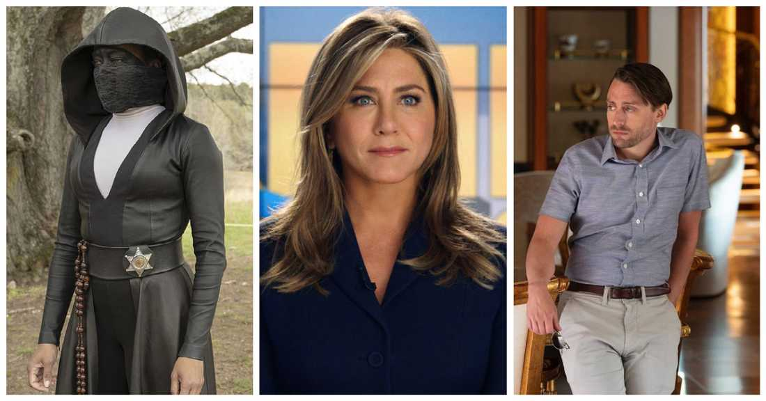 "Regina King i ""Watchmen"", Jennifer Aniston i ""The Morning Show"" och Kieran Culkin i ""Succession""."