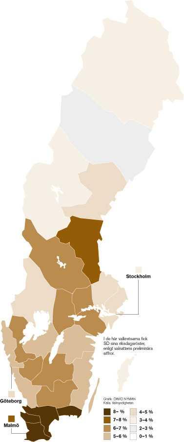 Så gick det för Sverigedemokraterna – län för län. Klicka på bilden för att göra den större.