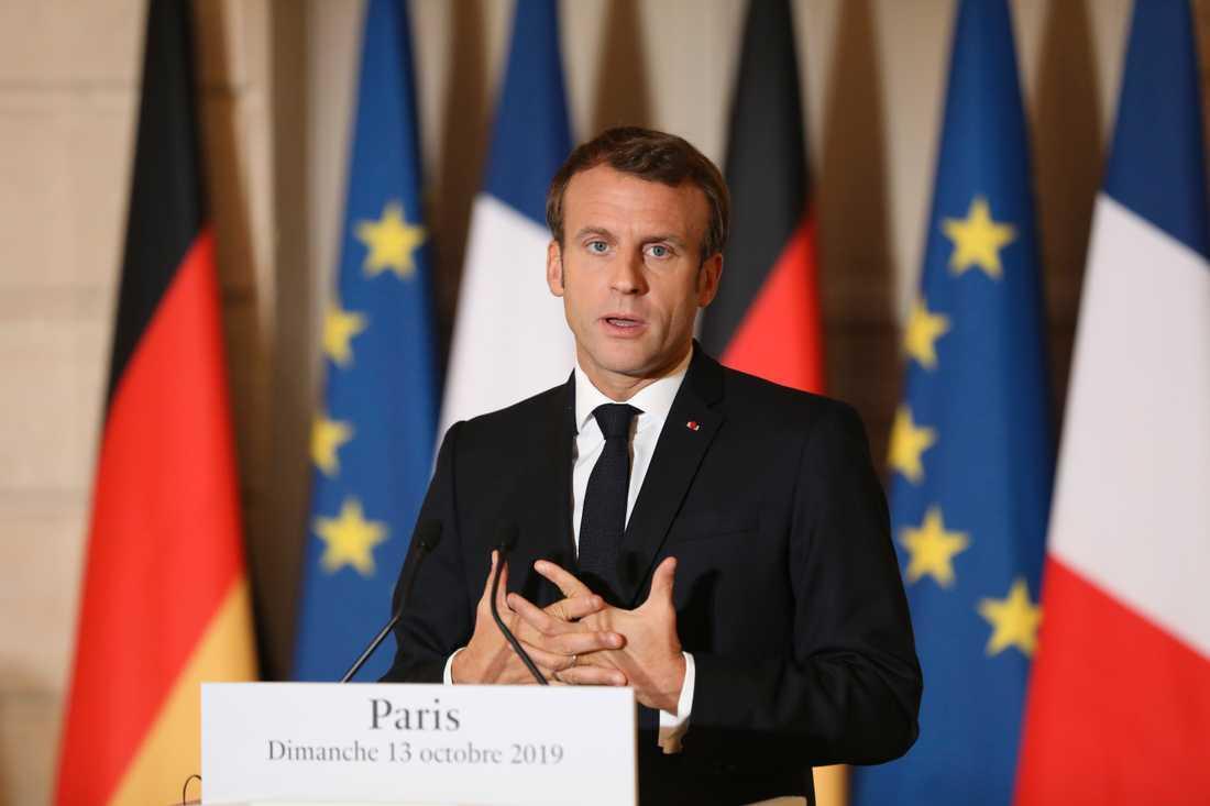 Frankrikes president Emmanuel Macron i söndags.