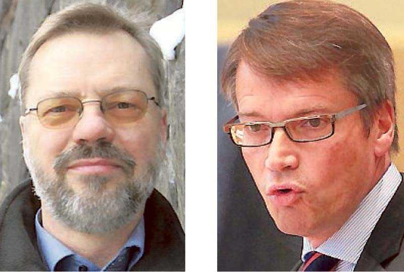 Svante Weyler, bokförläggare och Göran Hägglund, KD-ledare.