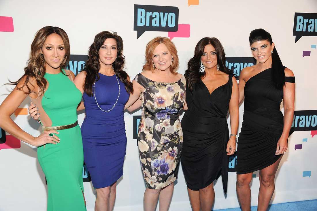 "Fruarna från ""Real Housewives of New Jersey"": Melissa Gorga, Jacqueline Laurita, Caroline Manzo, Kathy Wakile och Teresa Giudice."