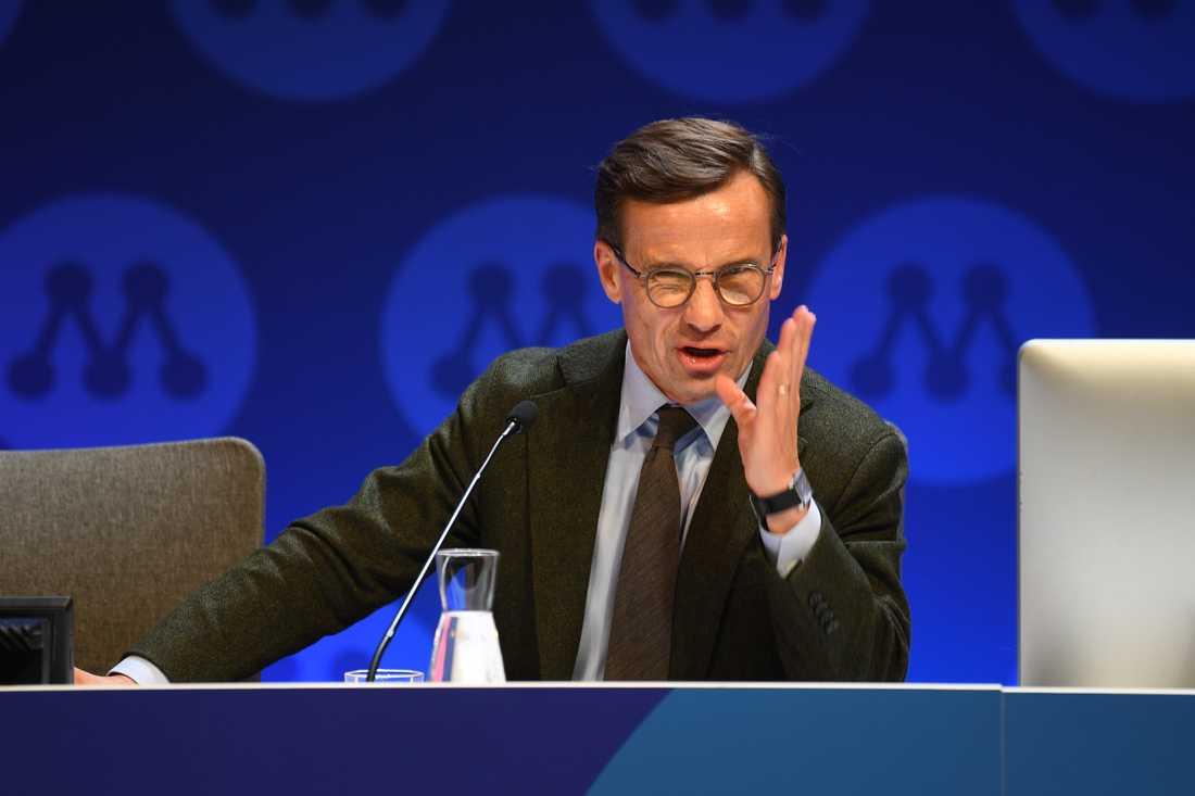 Moderaternas partiledare Ulf Kristersson (M) inledningstalar under partistämma på Aros Congress Center i Västerås.