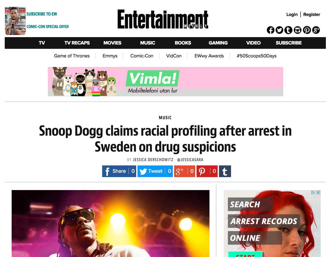 Entertainment Weekly Snoop Dogg claims racial profiling after arrest in Sweden on drug suspicions