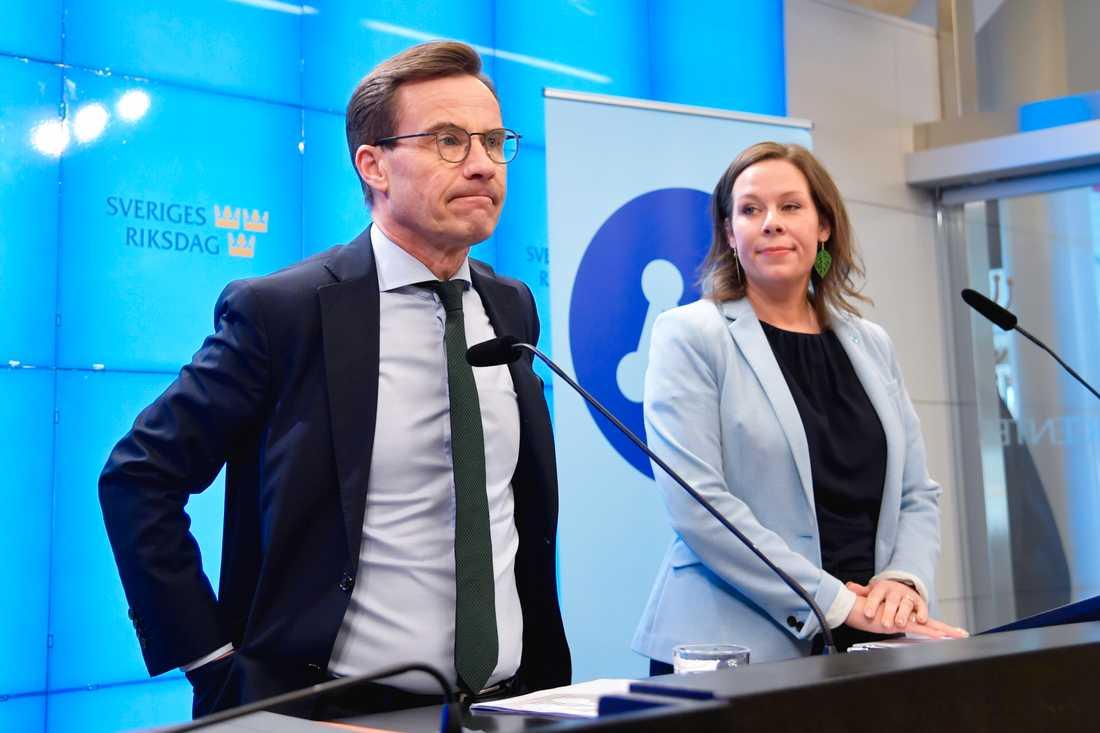 Moderaternas partiledare Ulf Kristersson (M) och Maria Malmer Stenergard, migrationspolitisk talesperson, presenterar nya förslag rörande arbetskraftsinvandring.