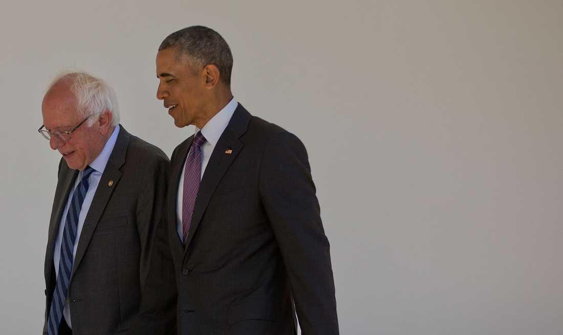 Bernie Sanders och Barack Obama.