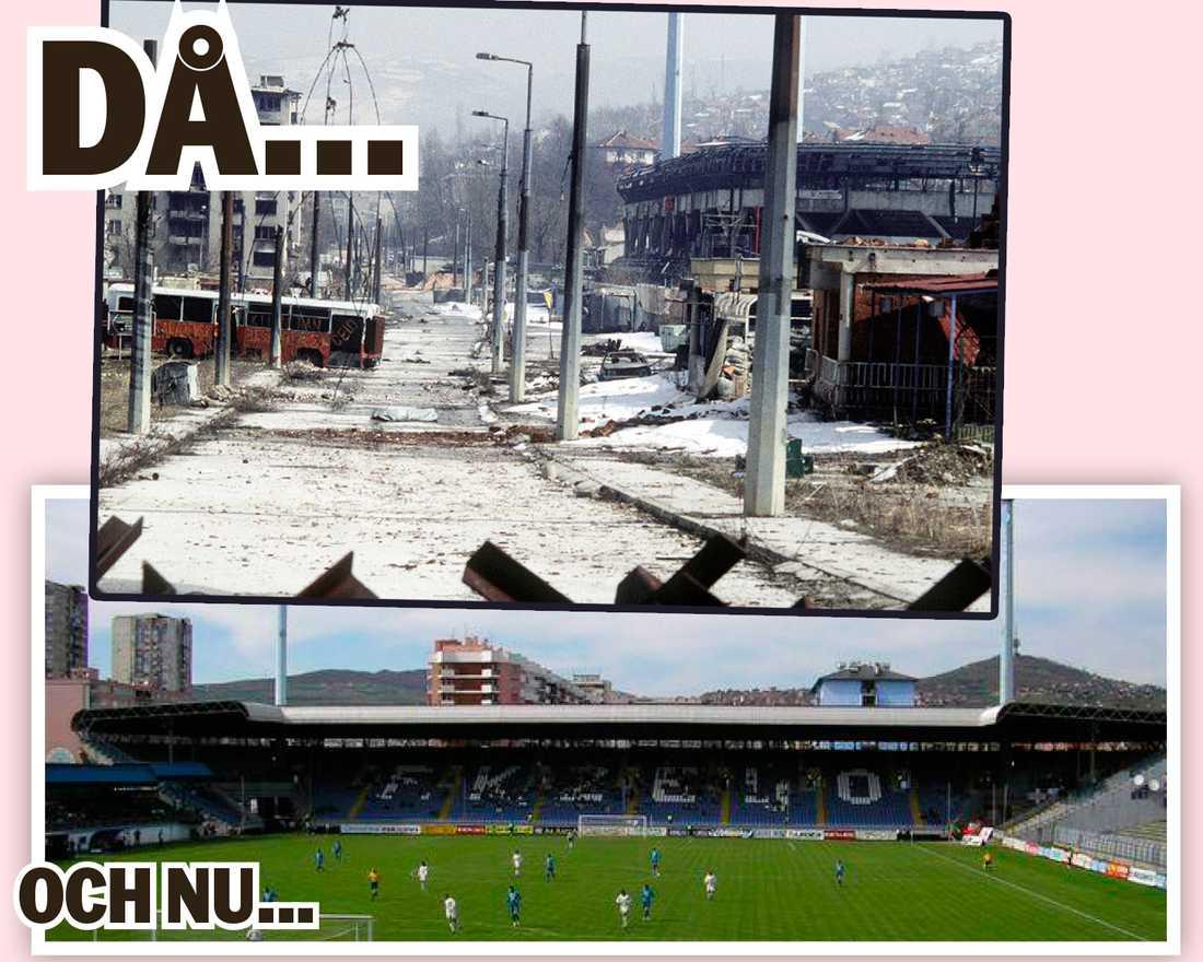 Under kriget förstördes arenan Grbavica i Sarajevo.