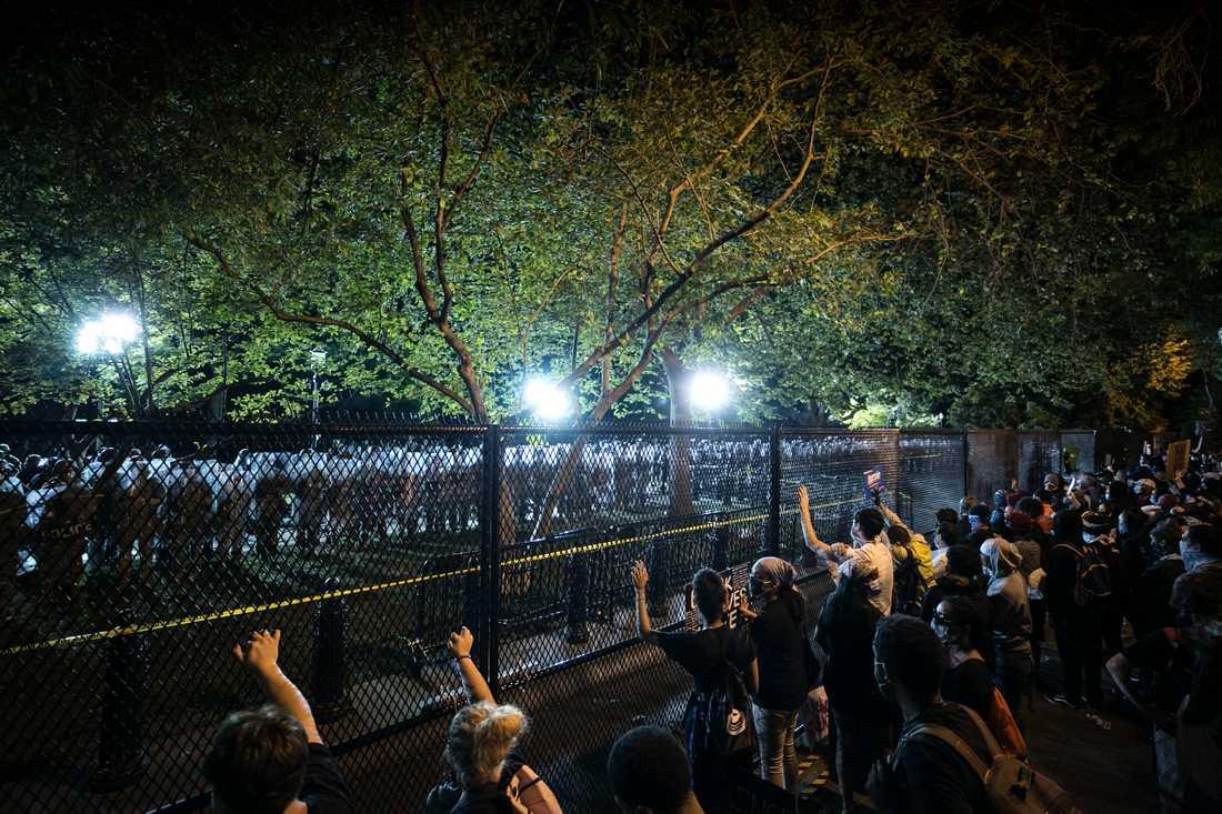 Stora protester utanför Vita huset. Skrikande demonstranter skakar staketet.