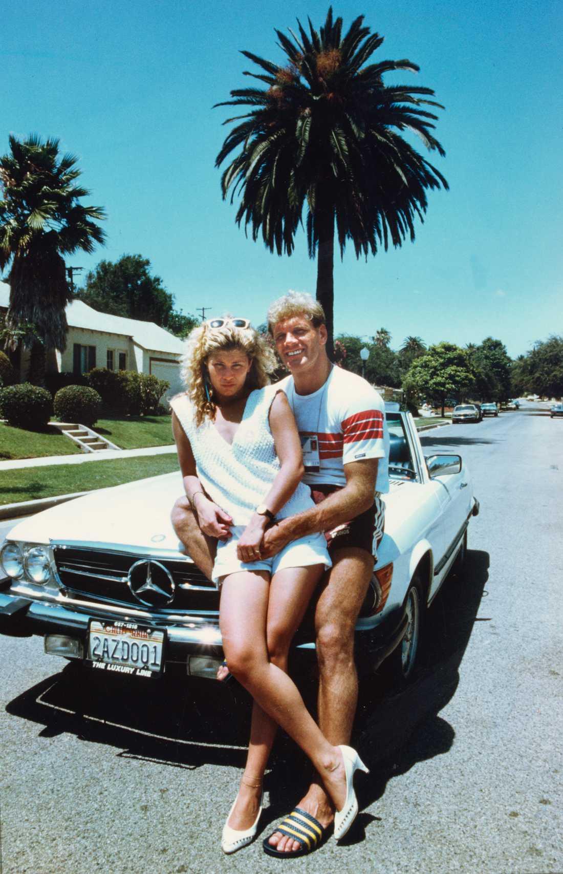 Frank Andersson med sin dåvarande flickvän Tina Tomasiec i Los Angeles sommaren 1984.