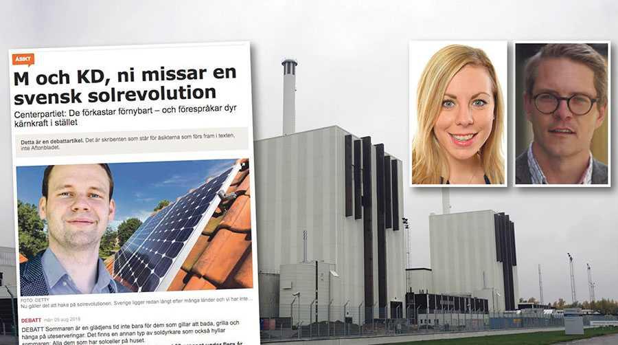 Centerpartiets Rickard Nordin vet mycket väl att det inte är realistiskt att enbart förnybar energi kommer att svara upp mot Sveriges efterfrågan på el, skriver Jessica Rosencrantz och Lars Hjälmered.
