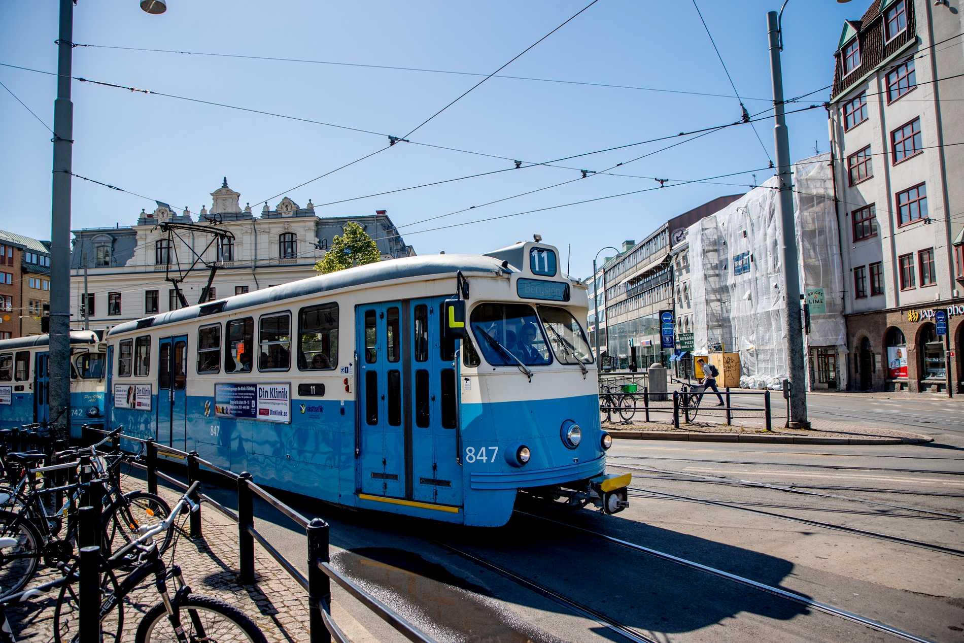 Värmen stoppade spårvagnar i Göteborg