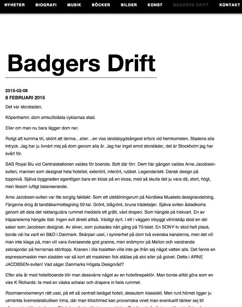 "Ulf Lundell sparar in på krutet i bloggen ""Badgers drift""."