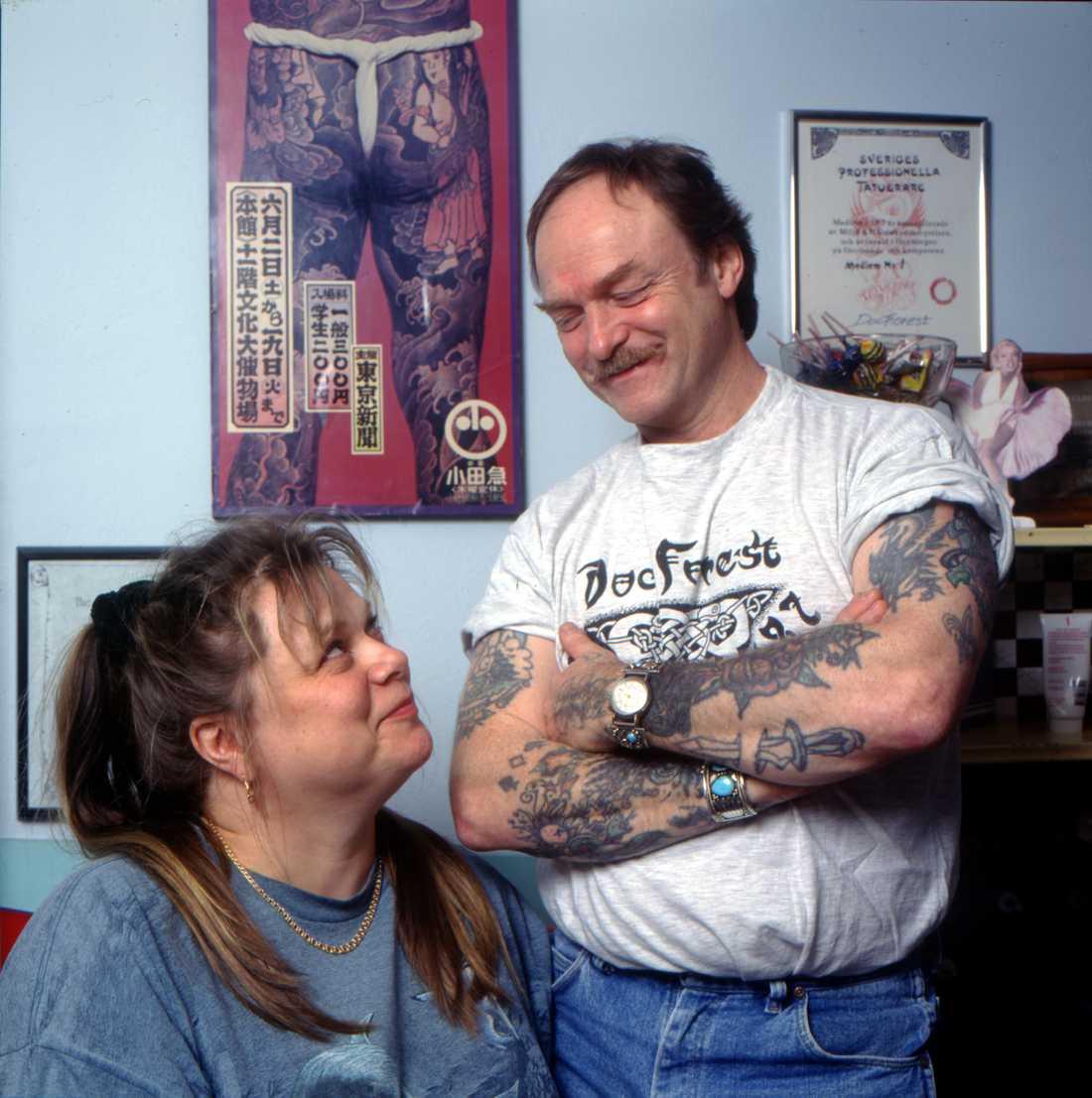 """Doc Forest"", Ove Skog, tillsammans med sin partner Sirpa Kangas, 1997."