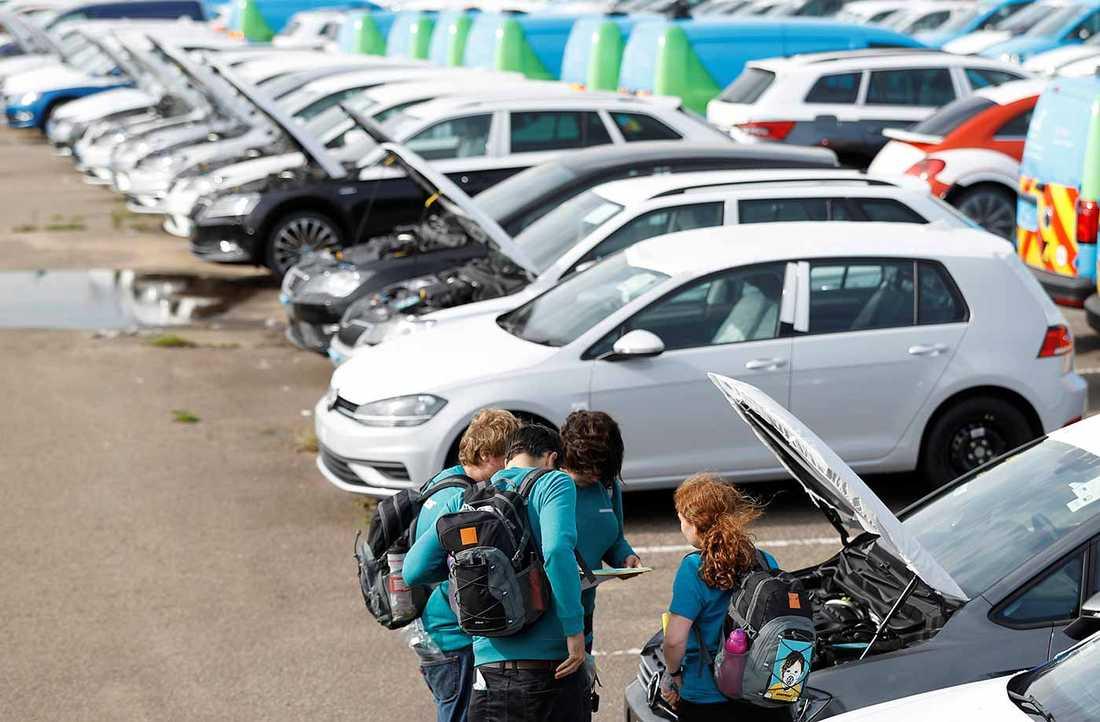 Bild från Greenpeace protest mot Volkswagen igår.