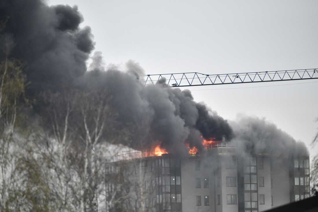 Branden startade i ett nybyggt hyreshus i Falkenberg.