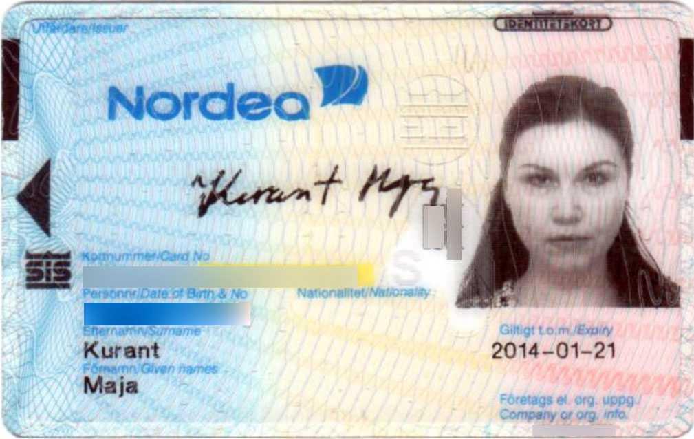 Id-kort utfärdat för Maja Kurant.