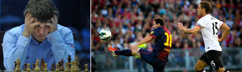 Till vänster: Norrmannen Magnus Carlsen. Till höger: Barcelona mot United på Ullevi förra sommaren.