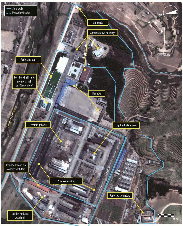 Satelitbild över fångläger 25. Från FN-rapporten.