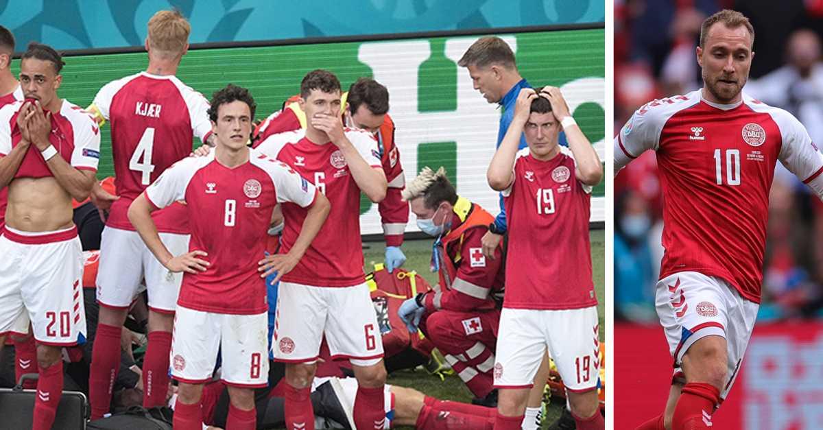 Danska spelarna skyddar Christian Eriksen.