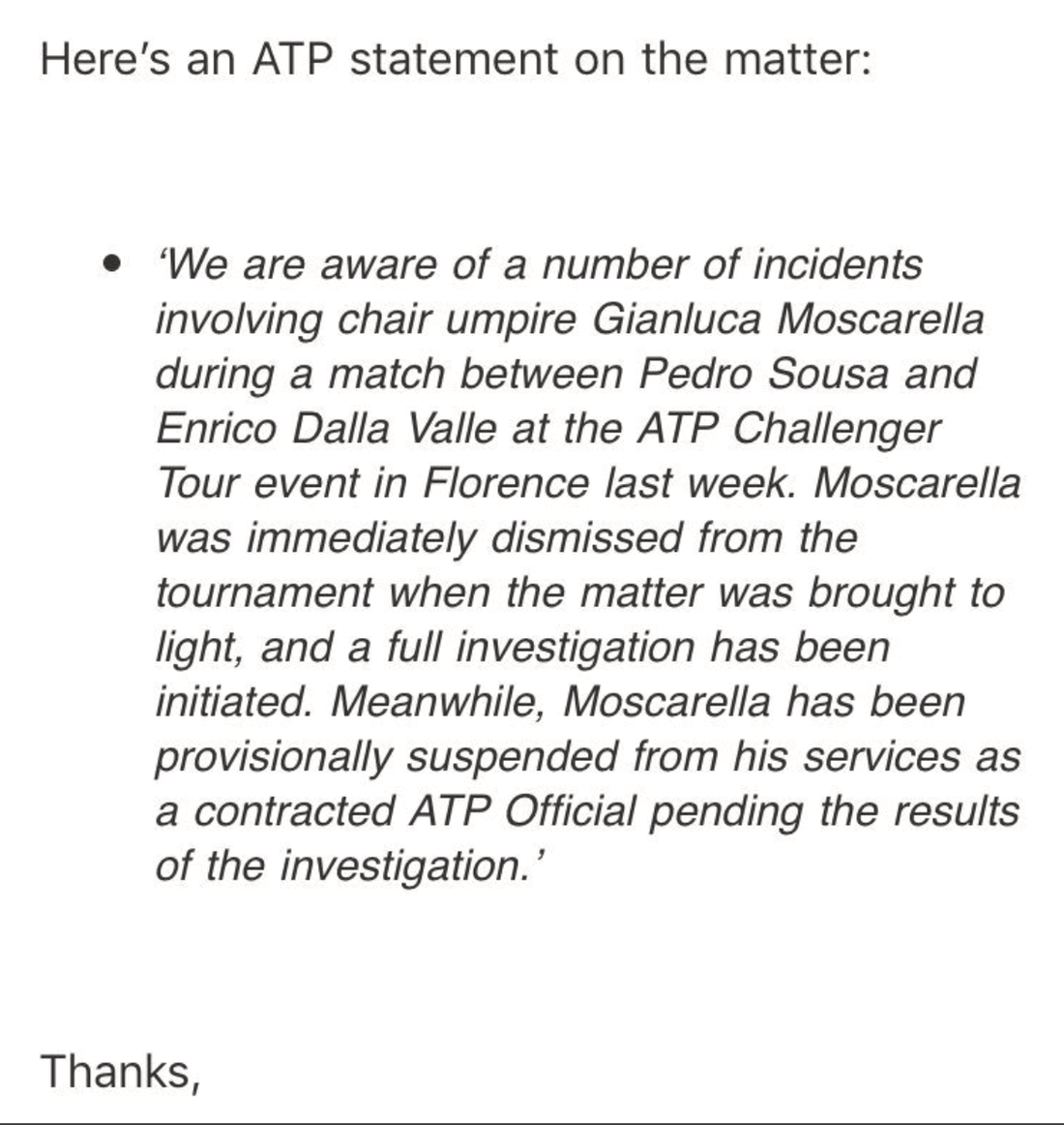 ATP:s uttalande om Gianluca Moscarella