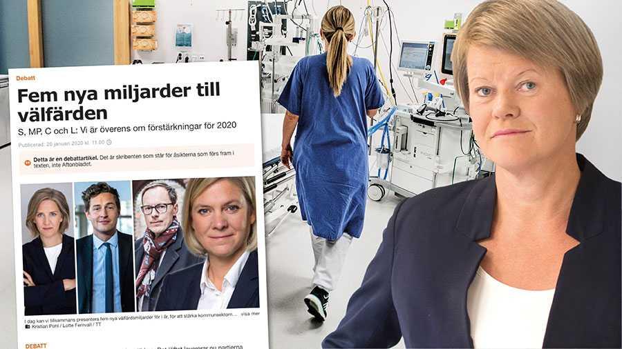 När januaripartierna inte tar krisen på allvar fortsätter vi i V att förhindra nedskärningar i välfärden. Därför fortsätter vi att förhandla med M och KD om mer pengar till kommuner och regioner, skriver Ulla Andersson.