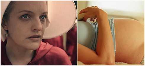 """Serien """"The handmaids tale"""" med Elisabeth Moss går just nu att se på HBO och visar en värld där kvinnor förslavas och blir till livmödrar. Debattörerna menar dock att den dystopi som serien skildrar redan existerar. """"Handeln med kvinnors reproduktiva förmåga och organ är redan en mångmiljardindustri och går under namnet surrogatmödraskap."""" skriver de."""