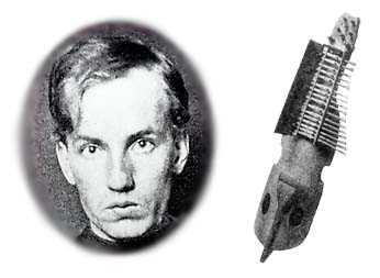 Dan Andersson och en nyckelharpa.