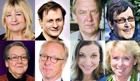 Marita Ulvskog, Carl Schlyter, Christian Engström, Eva-Britt Svensson, Marit Paulsen, Gunnar Hökmark, Ella Bohlin och Lena Ek.
