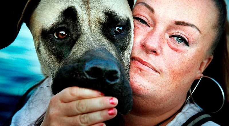 """Nana Hedin söker tröst hos sin hund Zion efter läkarnas cancerbesked. """"De sa: 'Hade du inte varit sångerska så hade vi skurit ut alltihop'"""", berättar hon för Nöjesbladet."""