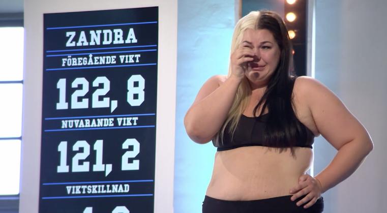 """Zandra Spångberg när hon åkte ur """"Biggest loser""""."""