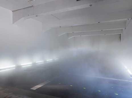 Fujiko Nakaya, Glacial Fog Falls. Fog installation #01494, 2015.