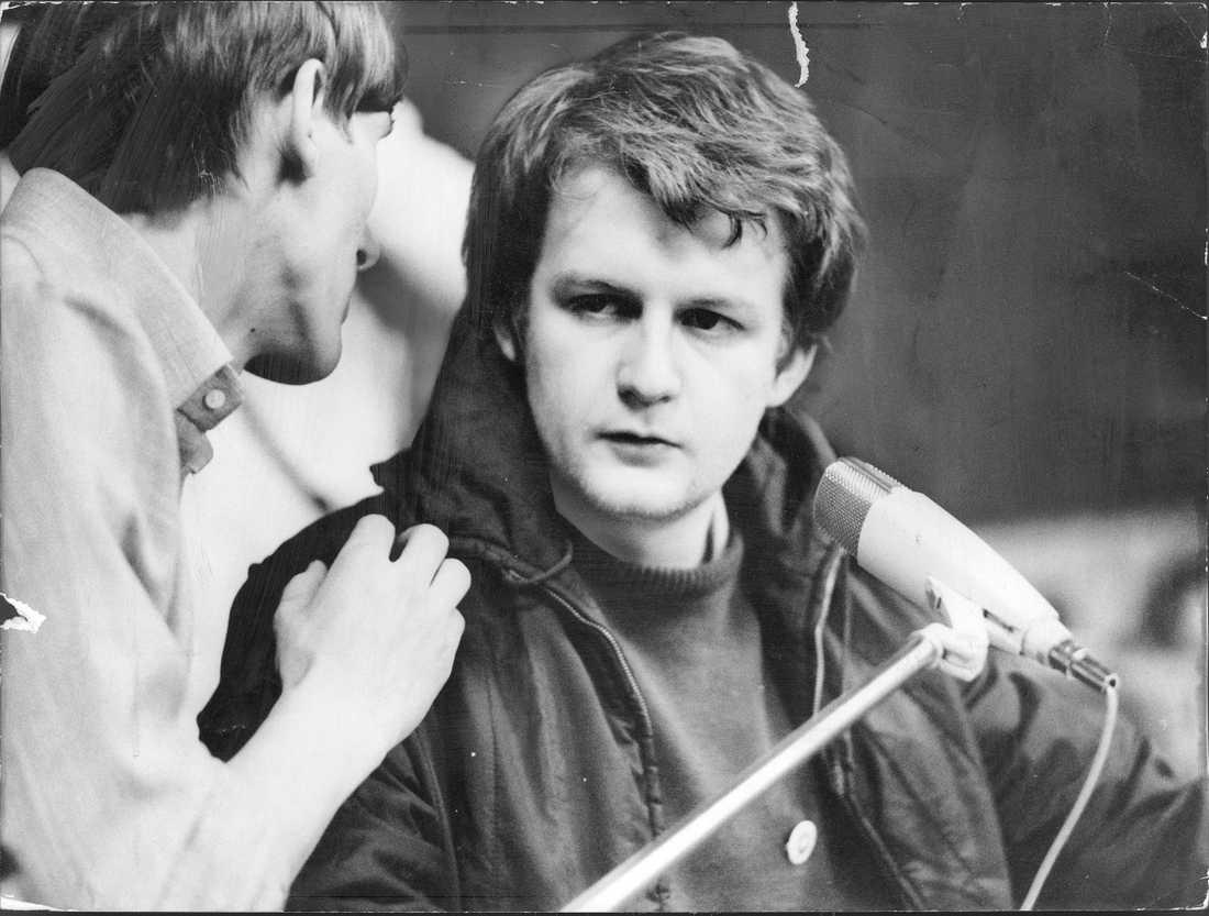 Anders Carlberg under kårhusockupationen på Stockholms universitet i maj 1968.