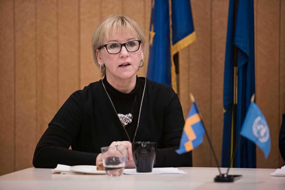 Utrikesminister Margot Wallström och sveriges FN ambassadör Olof Skoog inför att Sverige tar över ordförandeklubban i FN:s säkerhetsråd.