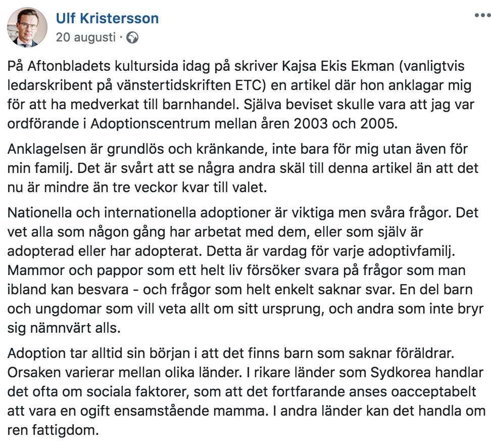 Ulf Kristerssons Facebook-kommentar om Ekis Ekmans artikel (20/8 −18).