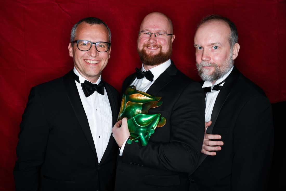 """Mikael Windelin, Christian Sjöstedt och Peter Hjorth vinnare av bästa visuella effekter för filmen """"Gräns""""."""
