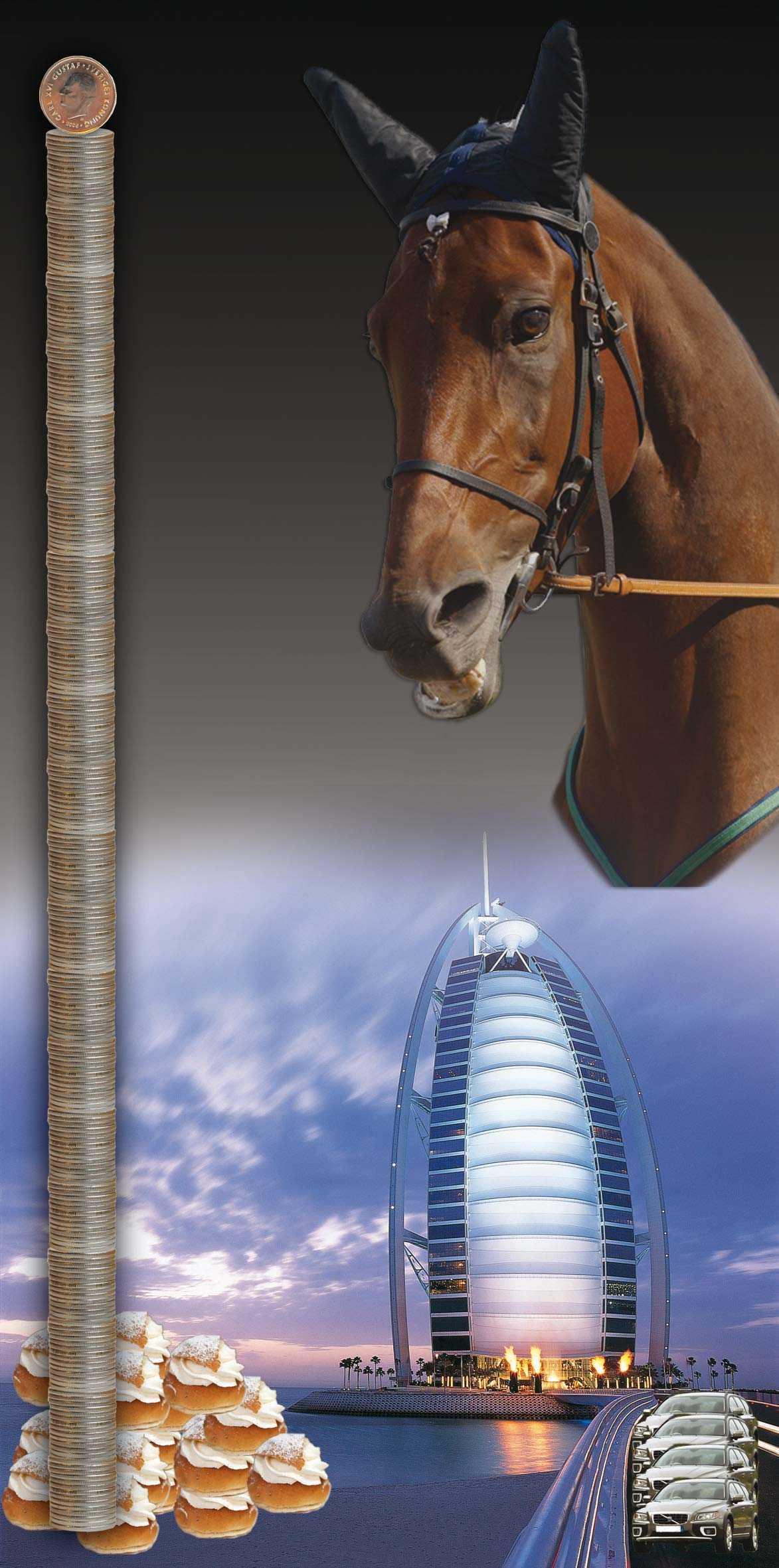 Lyxhotell i Dubai, ny bil, frossa i semlor eller köpa travhäst. Man kan göra mycket för 65 miljoner kronor.