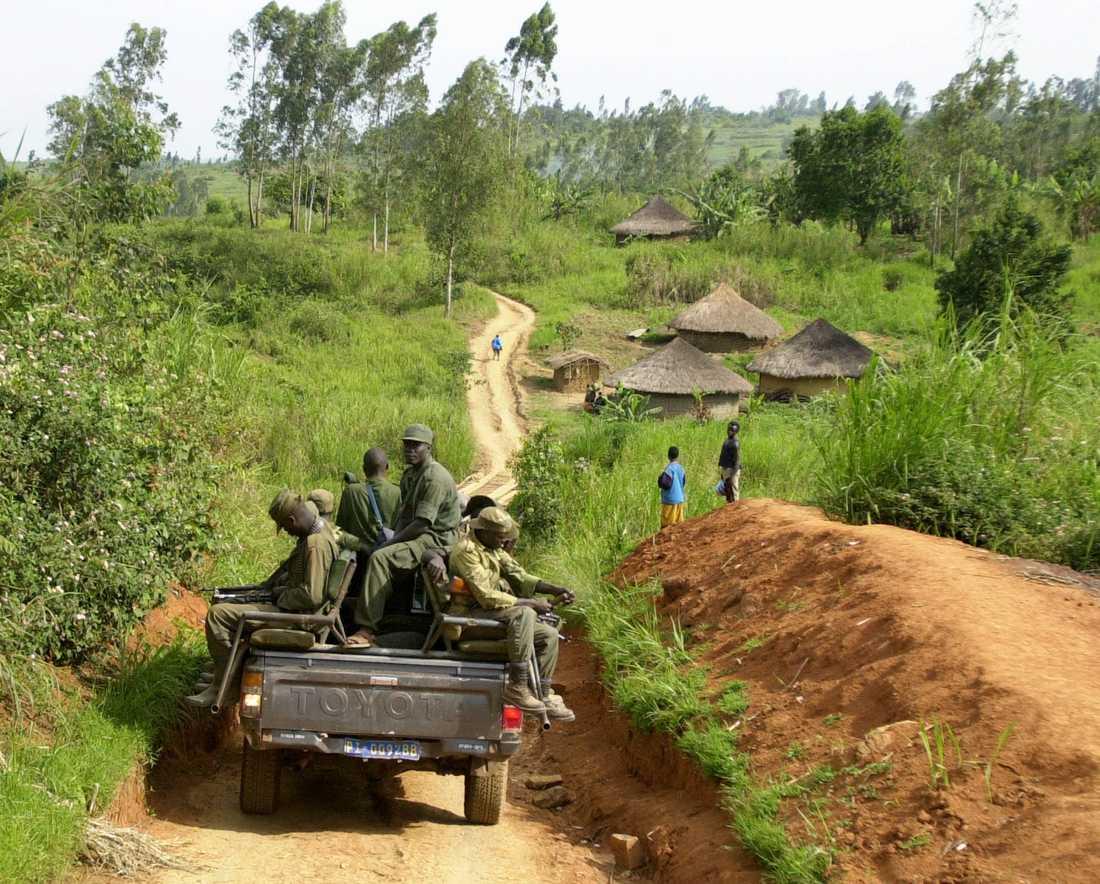 Soldater på patrull i Ituri-provinsen i nordöstra Kongo-Kinshasa. Arkivbild.