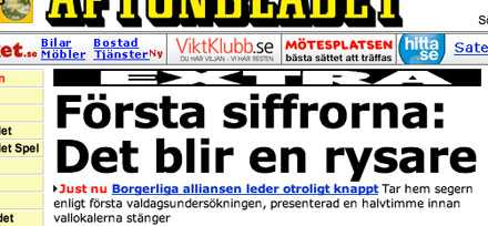 Avslöjar valet Aftonbladet.se mellan cirka klockan 19.30 och 20.00 i går.