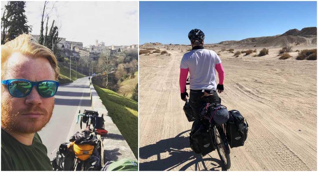 Kristian Halfwordson  har cyklat runt jorden i ett år, och ska fortsätta i ett år till.