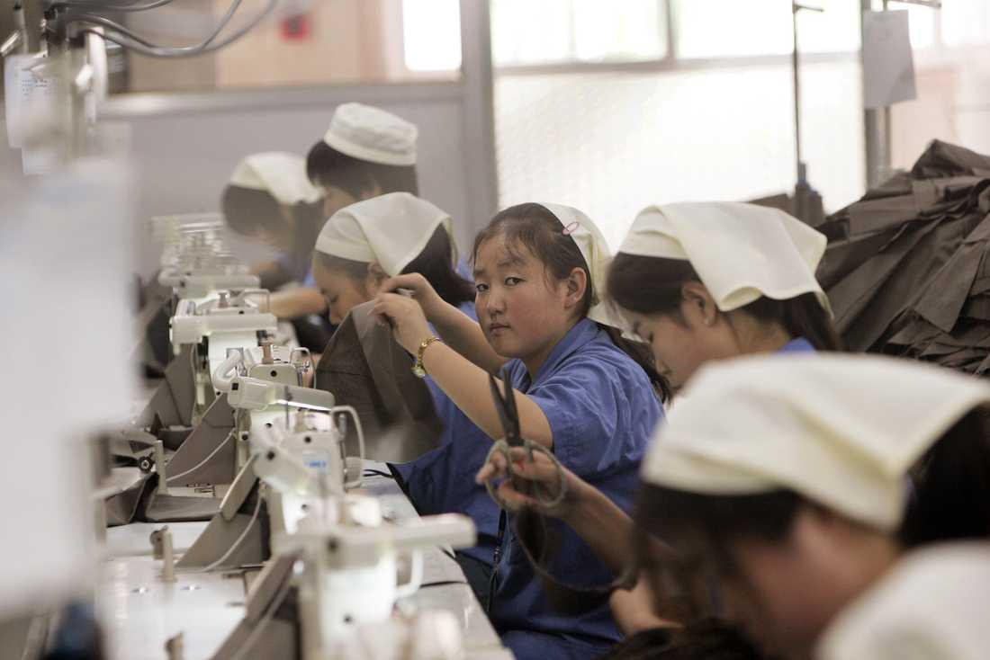 Kina anklagas för brott mot mänskligheten i sin behandling av fokgruppen uigurer i Xinjang-provinsen. Nu kopplas också svenska modeföretag till tvångsarbetet i de kinesiska lägren. Bild från klädfabrik norr om Peking.